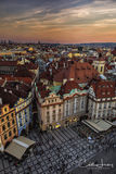 Prague, old town square, Czech Republic, rooftop, sunset, old town hall, astronomical clock