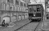 New Orleans, Louisiana, streetcar, tracks, street person