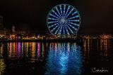 Seattle, Washington, great wheel, Ferris wheel, lights, long exposure, reflection, water, Elliot's Bay