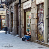 Spain, Barcelona, girl, green hair, street