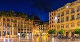 Malaga, Spain, Pablo Picasso, Solomon Ibn Gabirol, Antonio Banderas, night, town square