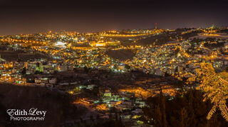 Jerusalem, Israel, Haas Promenade, night,