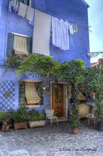 Burano, Italy, laundry, building, blue