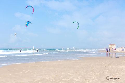 Tel Aviv, Israel, beach, Banana beach, kite surfer, surfing, jogger, spring morning