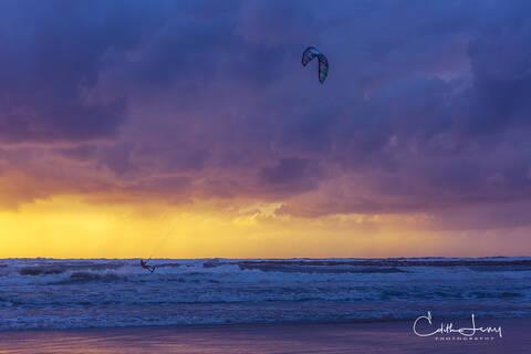 Tel Aviv, Israel, beach, kite surfer, surfing, sunset, sky, sea, silhouette