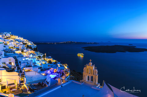 Santorini, greece, Firostefania, sunset, blue hour