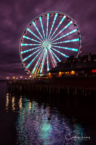 Seattle, Washington, great wheel, Ferris wheel, lights, long exposure, reflection, water, Elliot's Bay