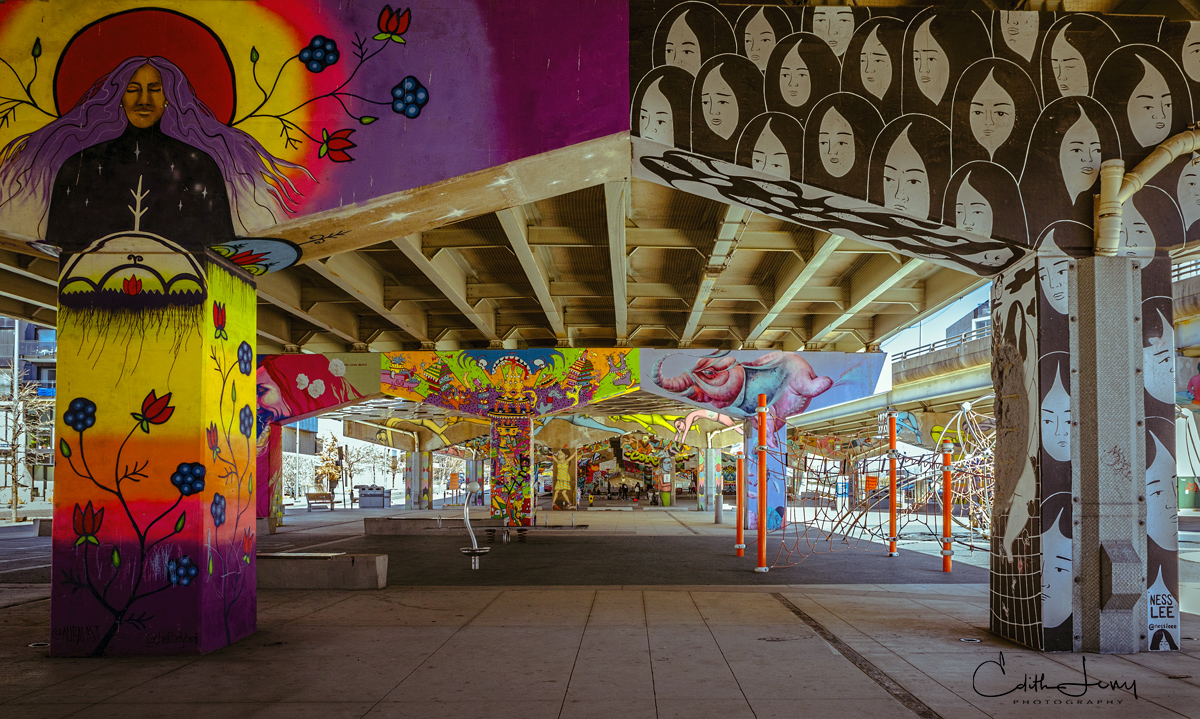 Underpass Park located in the east end of Toronto is an urban playground & skate park, its concrete pillars filled with street art & murals.