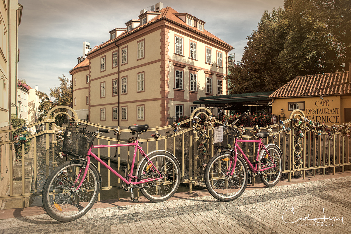 Prague, Czech Republic, old city, pink, bicycles, bridge, photo