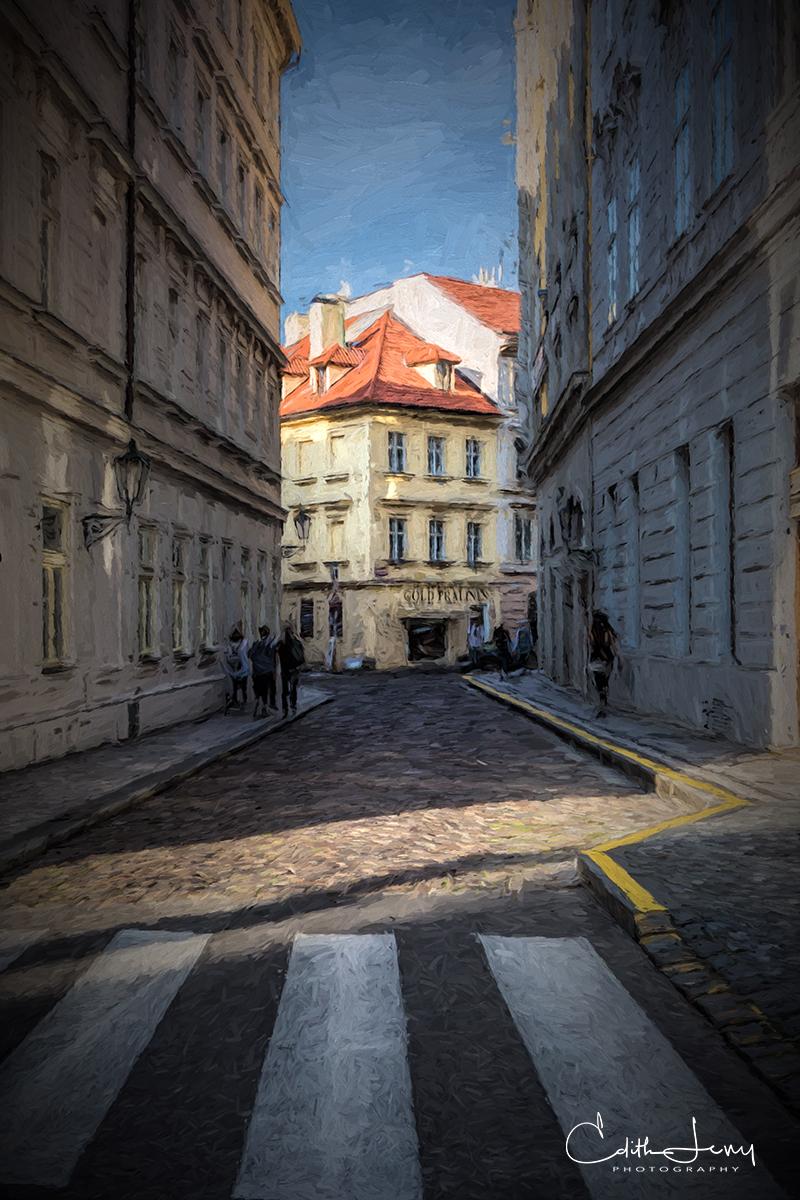 Prague, Czech Republic, old city, street, digital art, cross walk