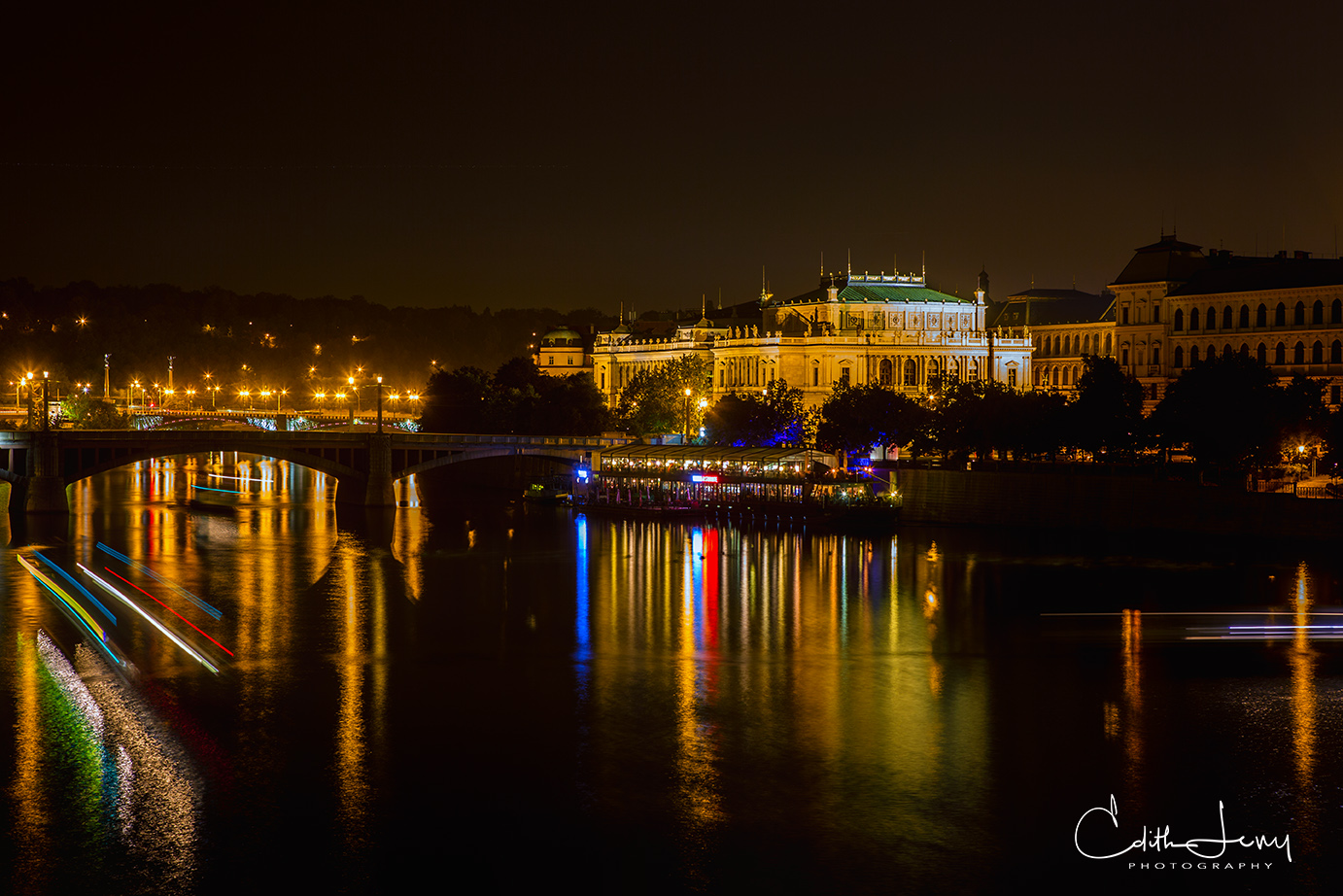 The Vltava river in Prague at night. This is the view from the Charles Bridge.