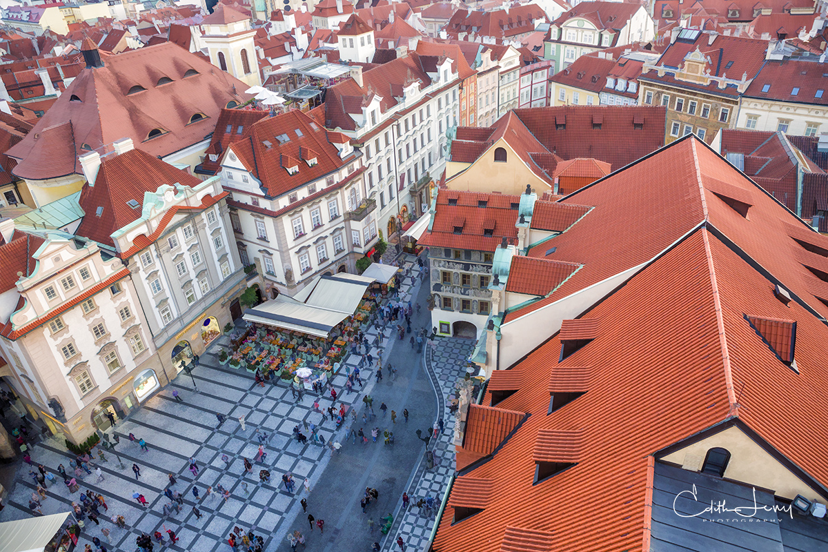 Prague, old town square, Czech Republic, rooftop,  old town hall, astronomical clock, photo