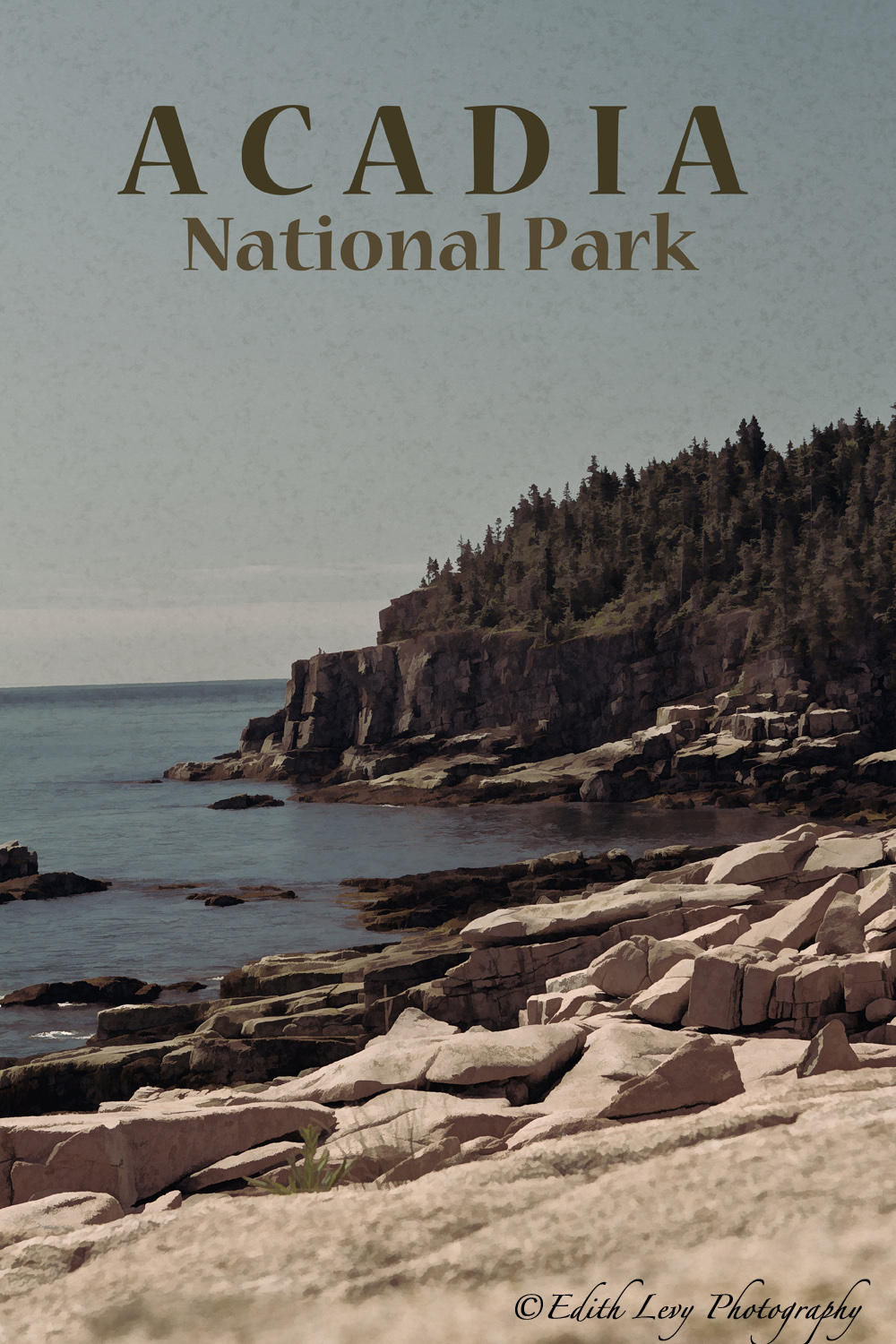 A vintage style travel poster of Acadia National Park