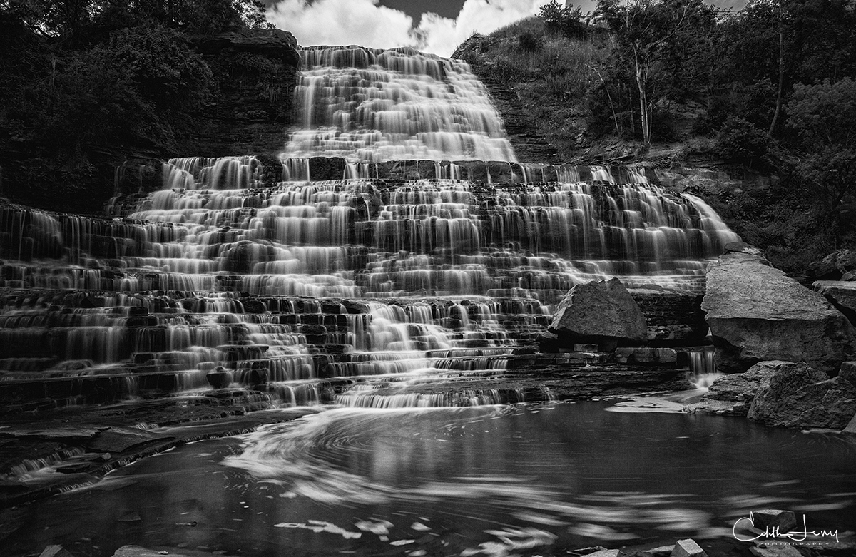 Albion Falls, Ontario, water, long exposure, black and white