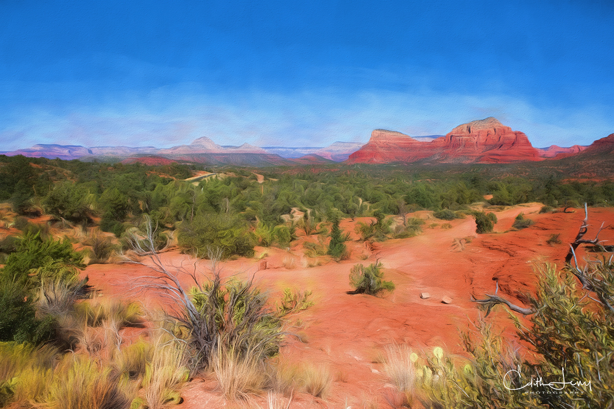 A digital painting of the Sedona landscape.