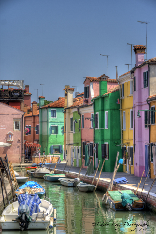 Burano, Italy, canal, colours, building, boats, blue, green, orange, pink, yellow