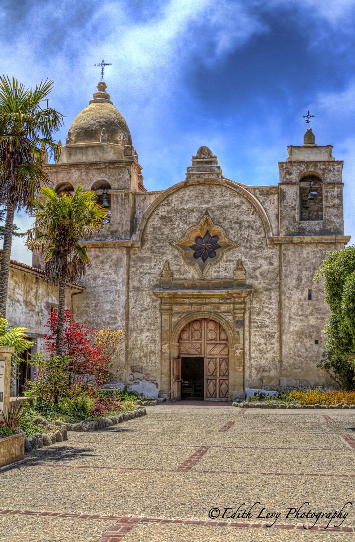 Carmel, California, mission, church, flowers, blue sky