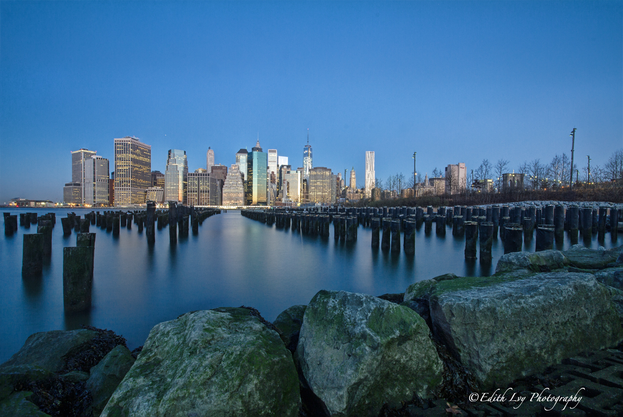 A view of the Manhattan skyline from Brooklyn.