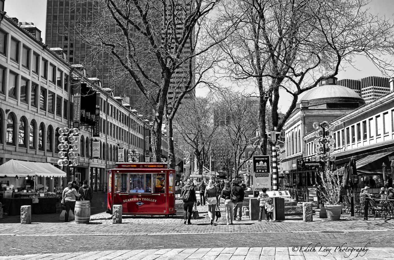 Boston, Massachusetts, Faneuil Hall, marketplace, street photography, black and white, red, selective color