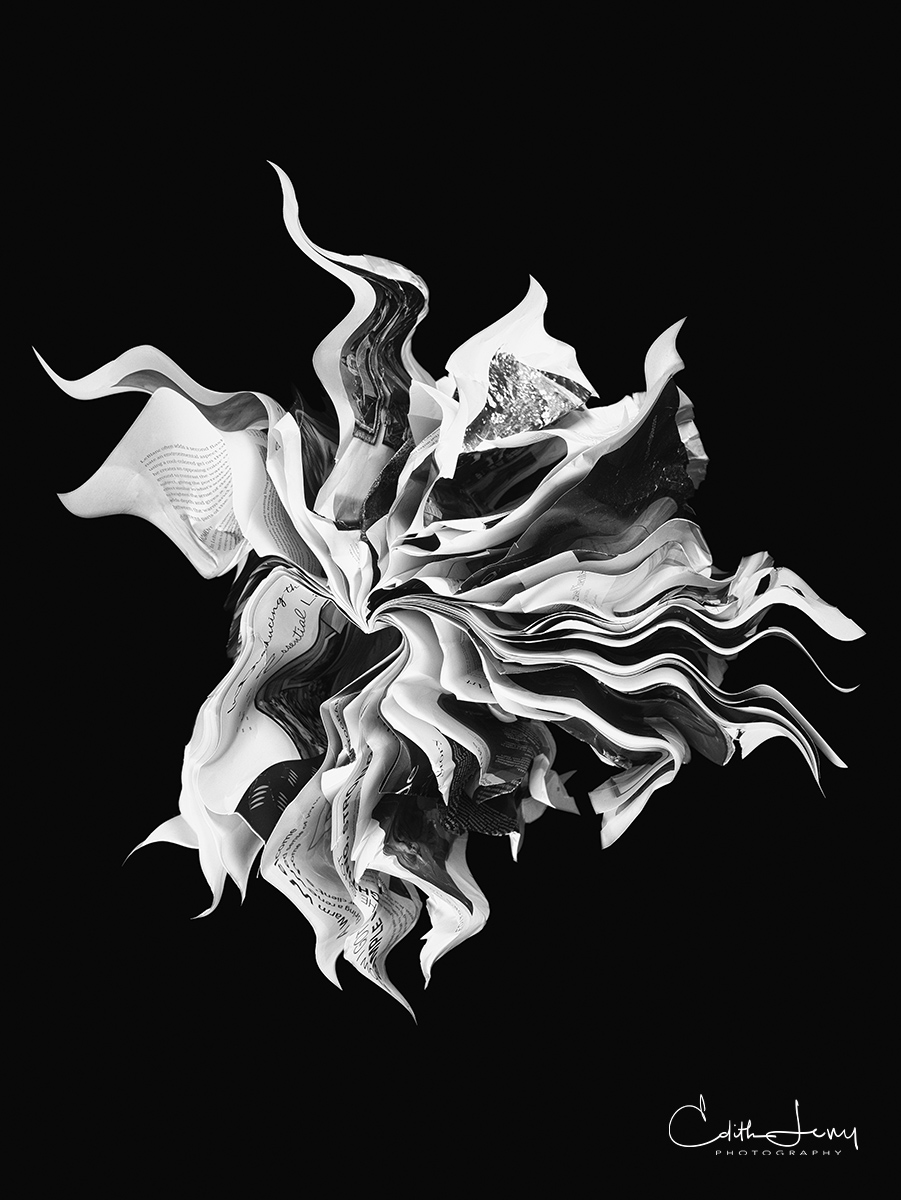 orime no, book art, fine art photography, magazine, folded art, paper art, black and white