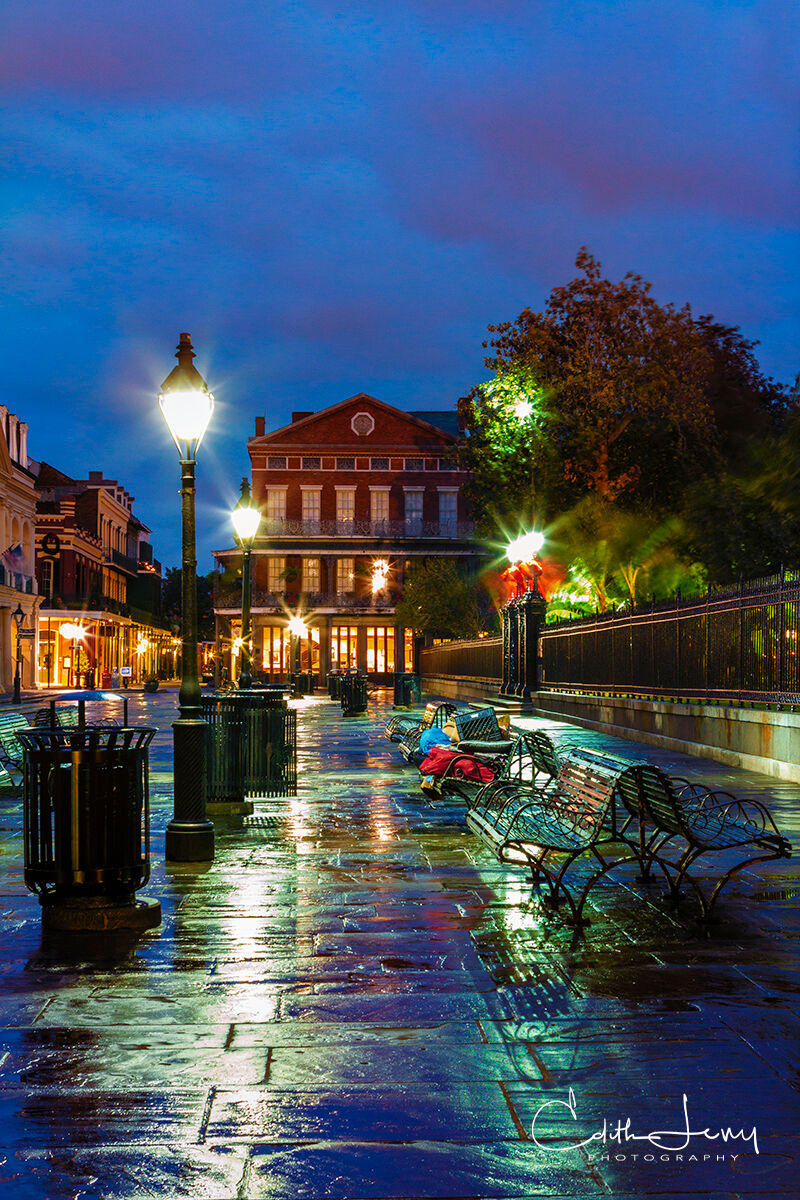 The pre-dawn light and the wet, glistening stone bring out the beauty of Jackson Square before the locals and tourists converge...