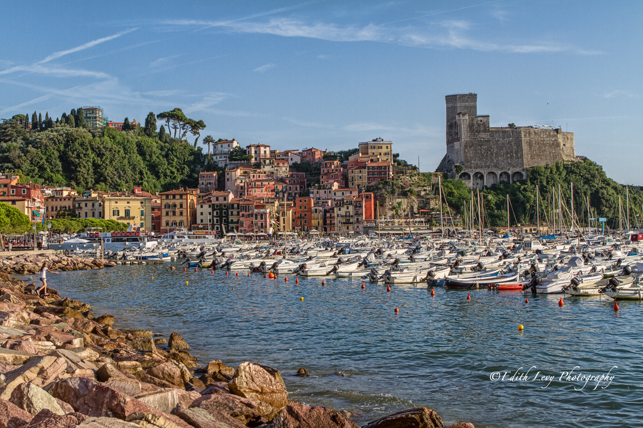 A beautiful view of the marina in Lerici, Italy