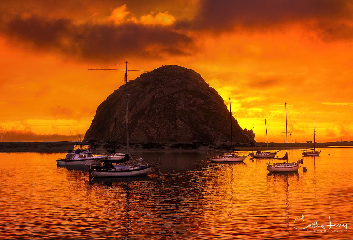 Morro Bay, Morro Rock, San Luis Obispo, California, sunset, volcanic, photo