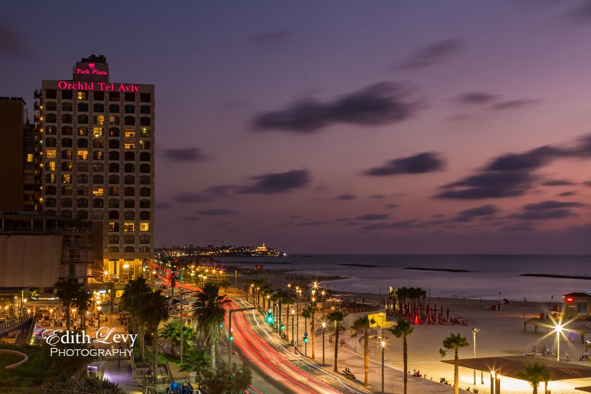 Tel Aviv, Israel, Orchard Hotel, night, long exposure, lights, promenade, beach