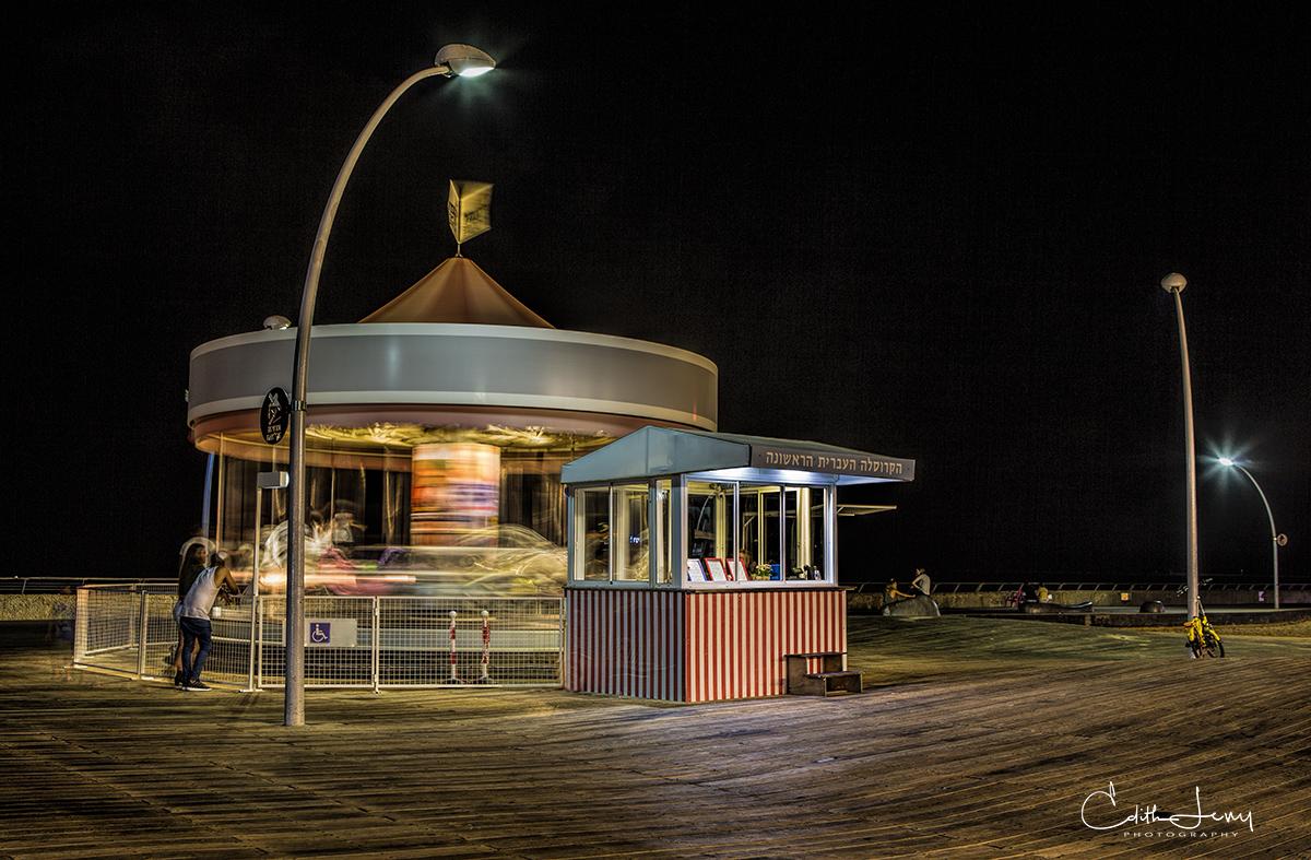 Tel Aviv, Israel, port, Namal Tel Aviv, merry-go-round, sea, promenade, wooden deck, photo