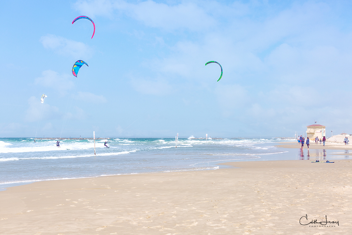 Tel Aviv, Israel, beach, Banana beach, kite surfer, surfing, jogger, spring morning, photo