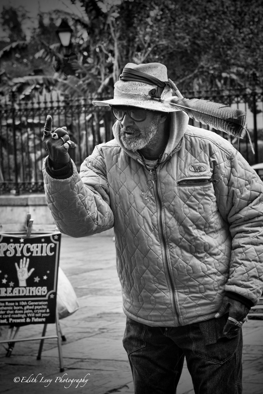 New Orleans, Louisiana, Jackson Square, French Quarter, street performer, dance, palm reader, photo
