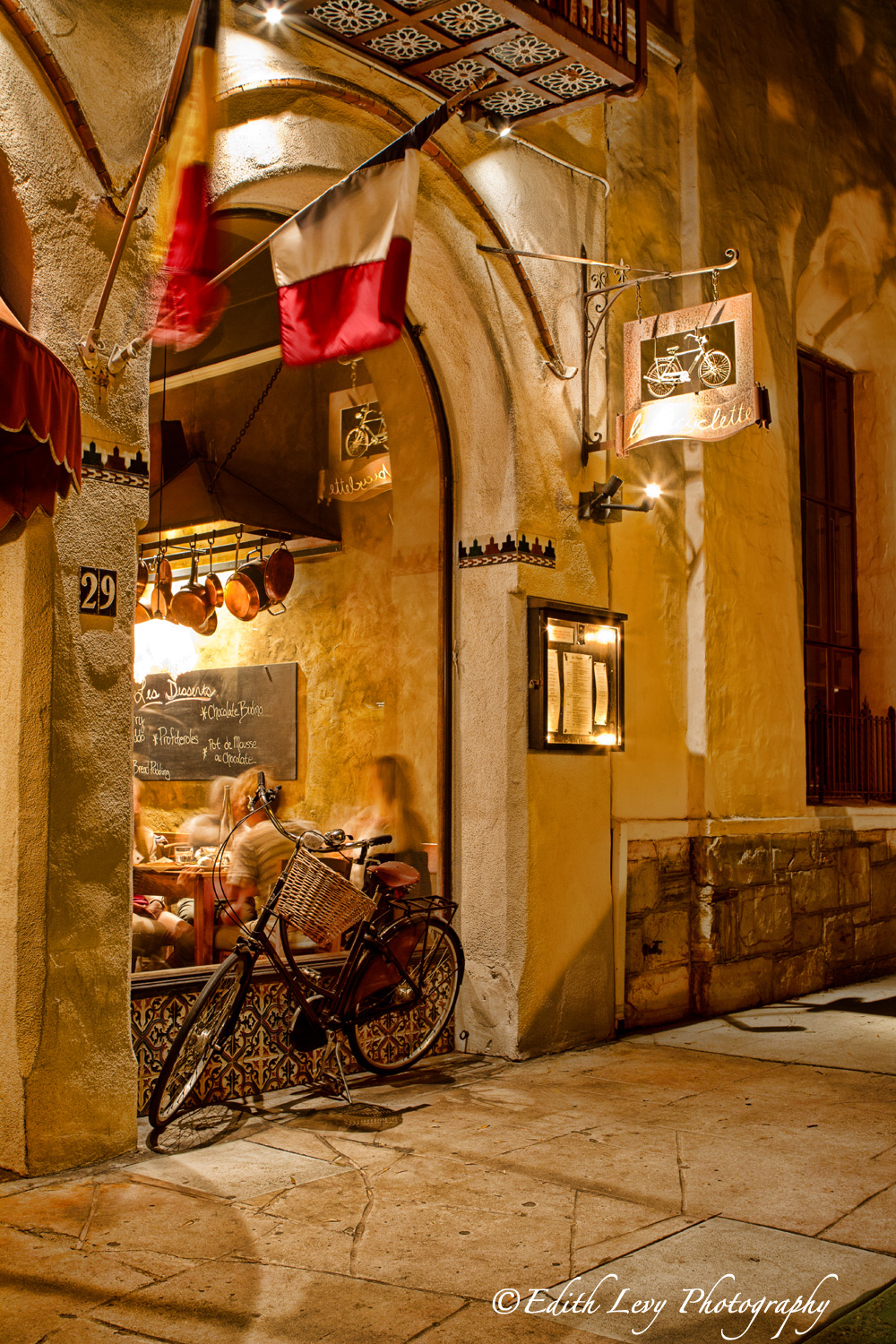 Carmel, California, Restaurant, La Bicyclette, night photography, street photography