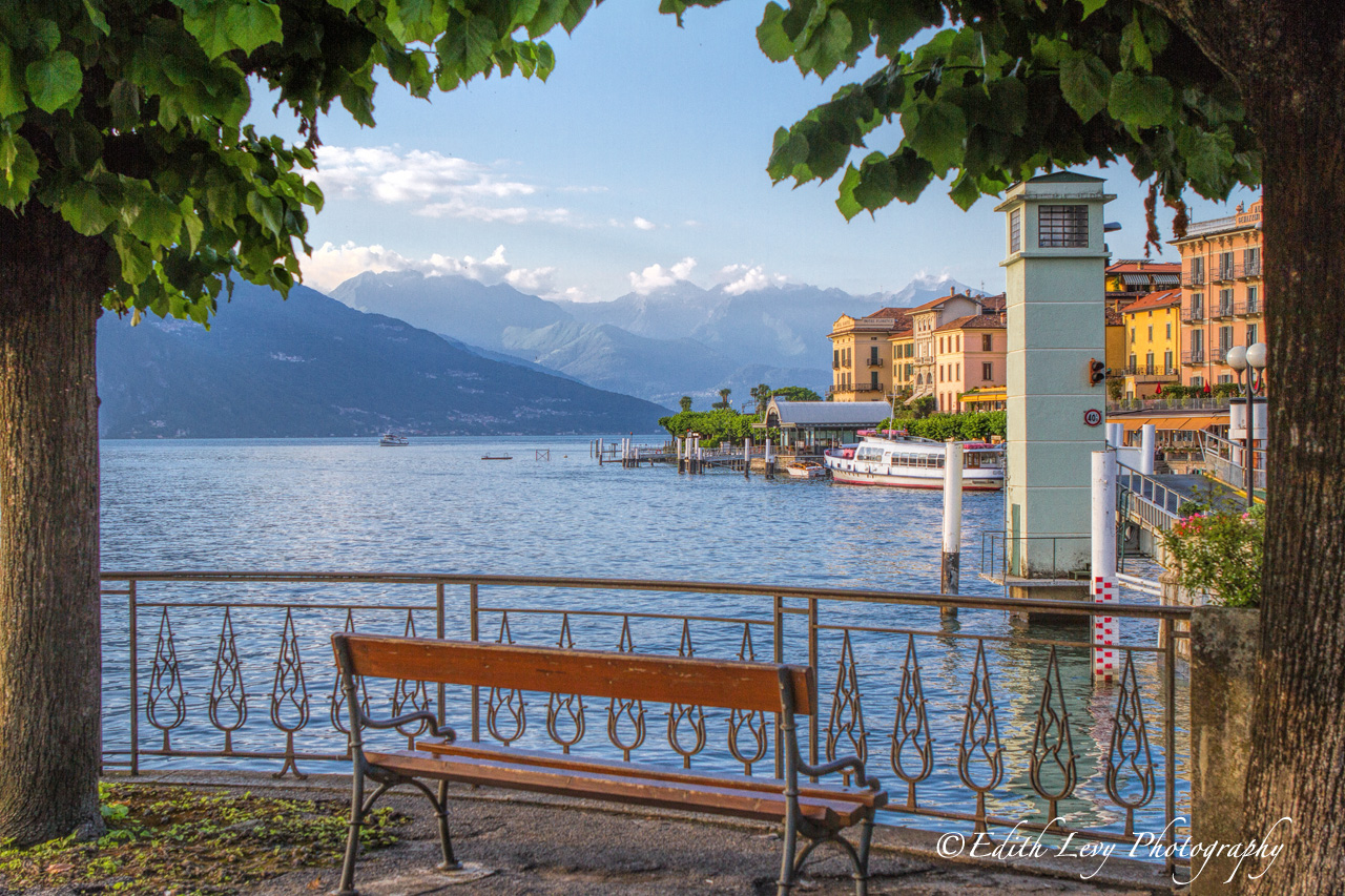 Take a seat on this bench for a lake side view of Lake Como in Bellagio.
