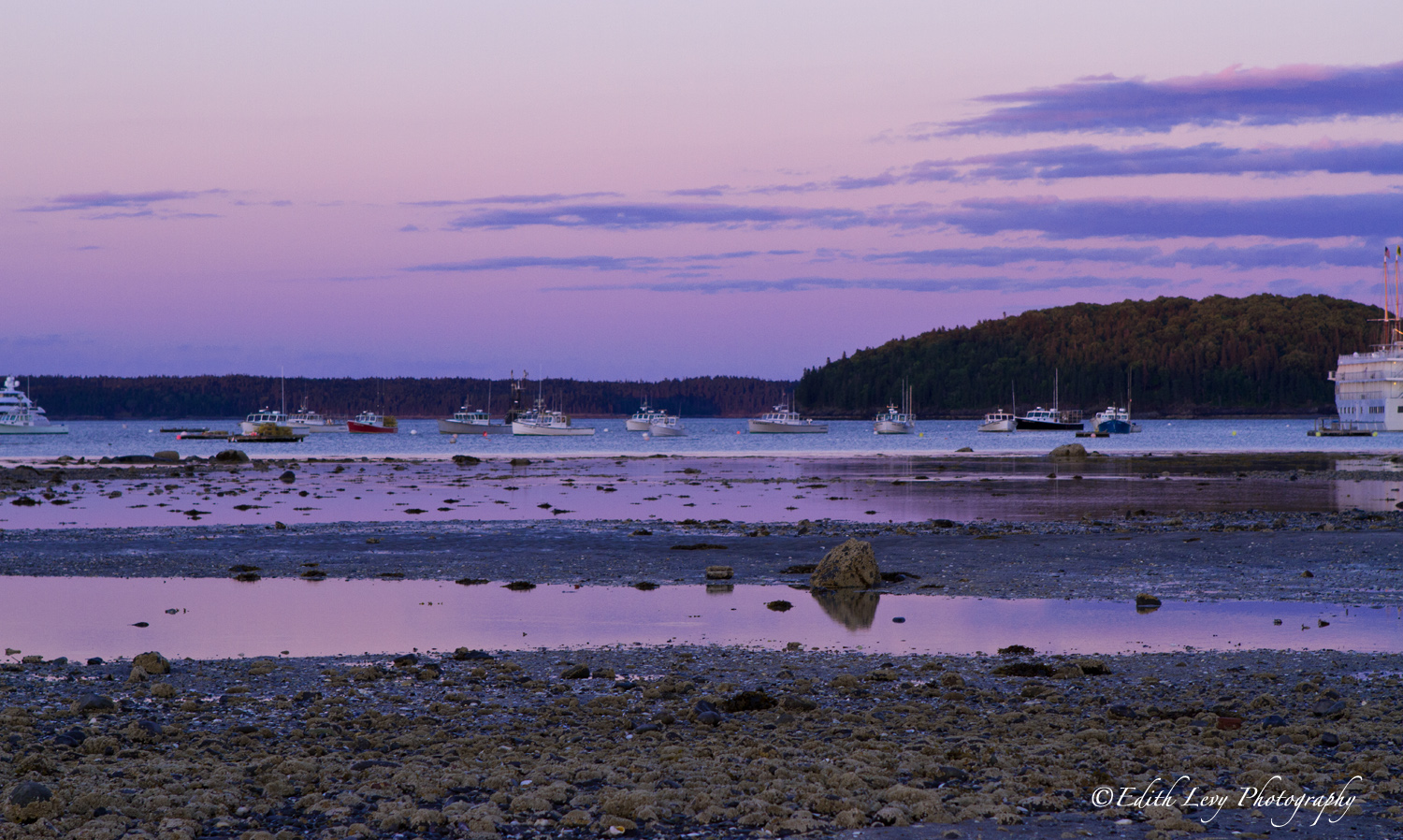 Low tide and a colourful sky at sunset in Bar Harbour.