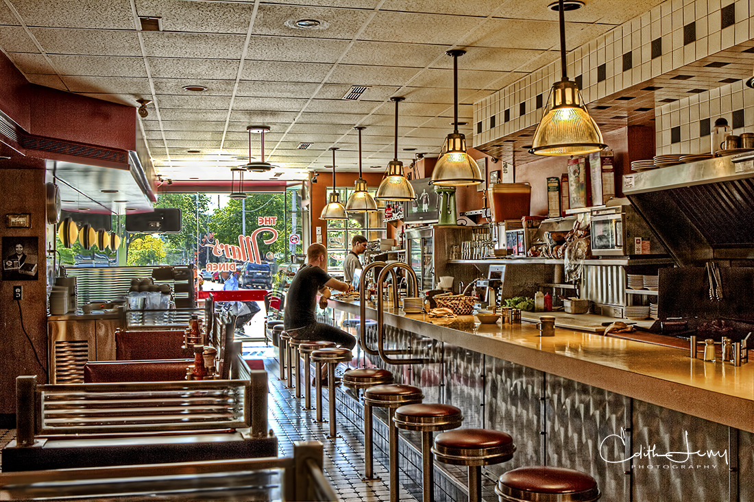 Toronto, Ontario, diner, counter, red stools, Mars Diner, photo