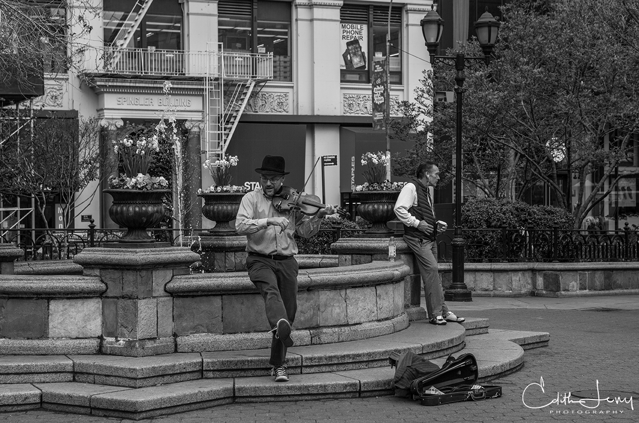 Street musicians in Union Square entertain the crowds.