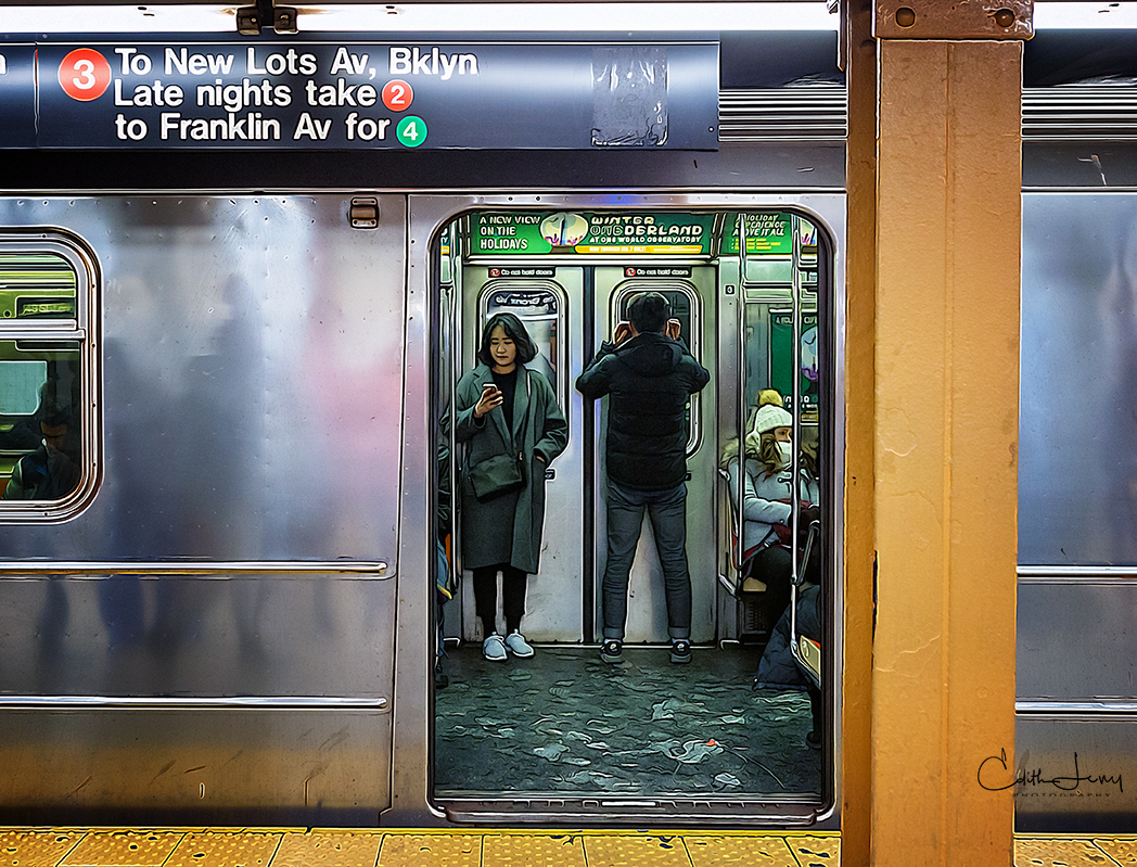 I love travelling by subway in New York. Everywhere you look there's a story or a tableau to be photographed.