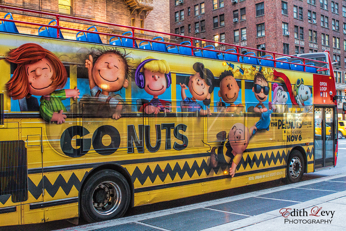 The year the Peanuts movie came out some of the New York City buses were transformed.