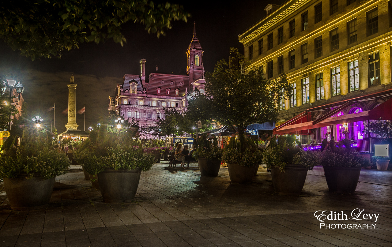 Old Montreal, Quebec, night, street performers, cobblestone road, outdoor cafe, photo