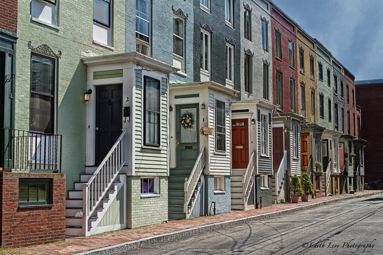 Portland, Maine, row houses, painted houses, row house, photo