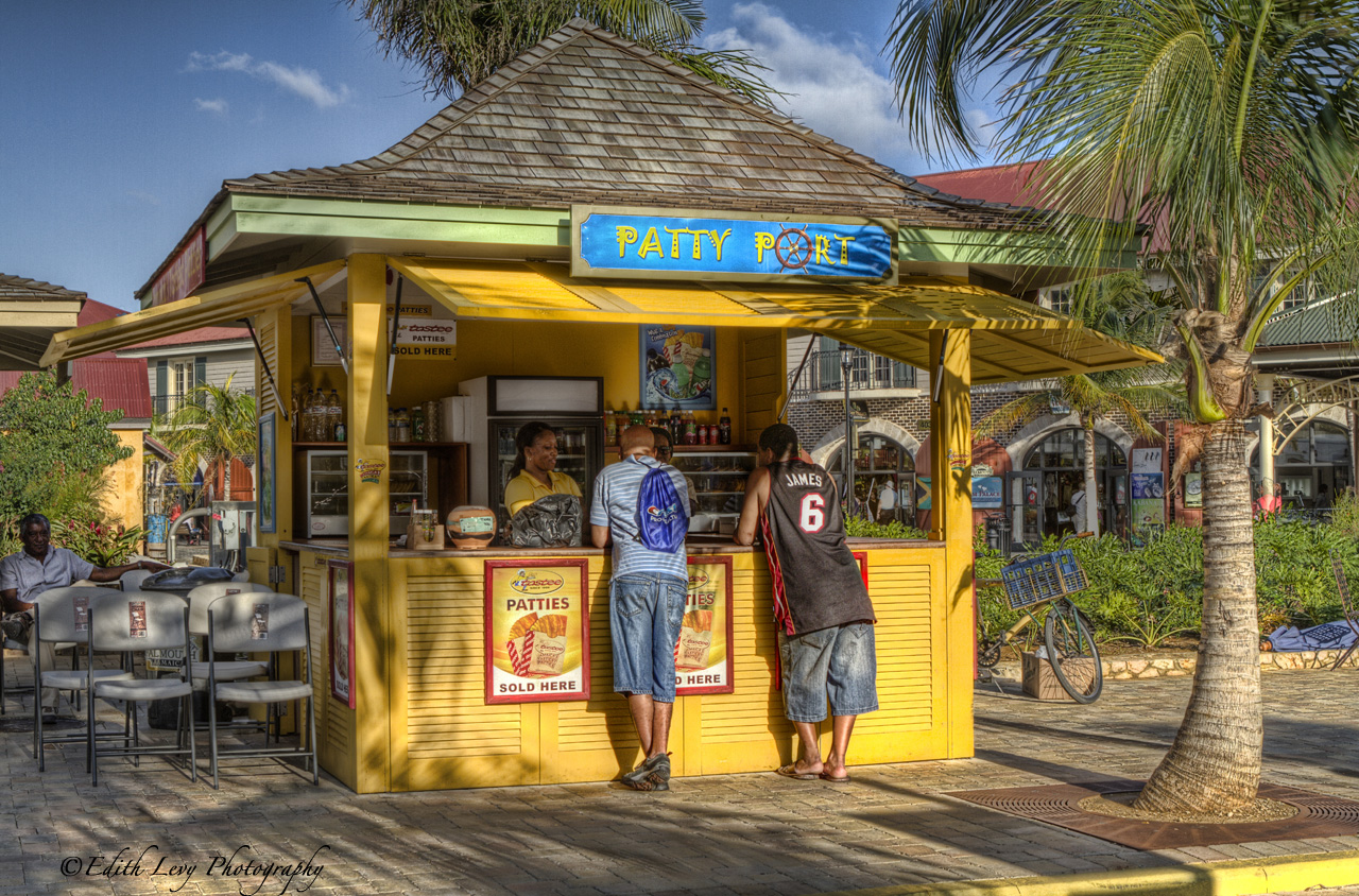 A hut selling patty's at the port in Kingston, Jamaica