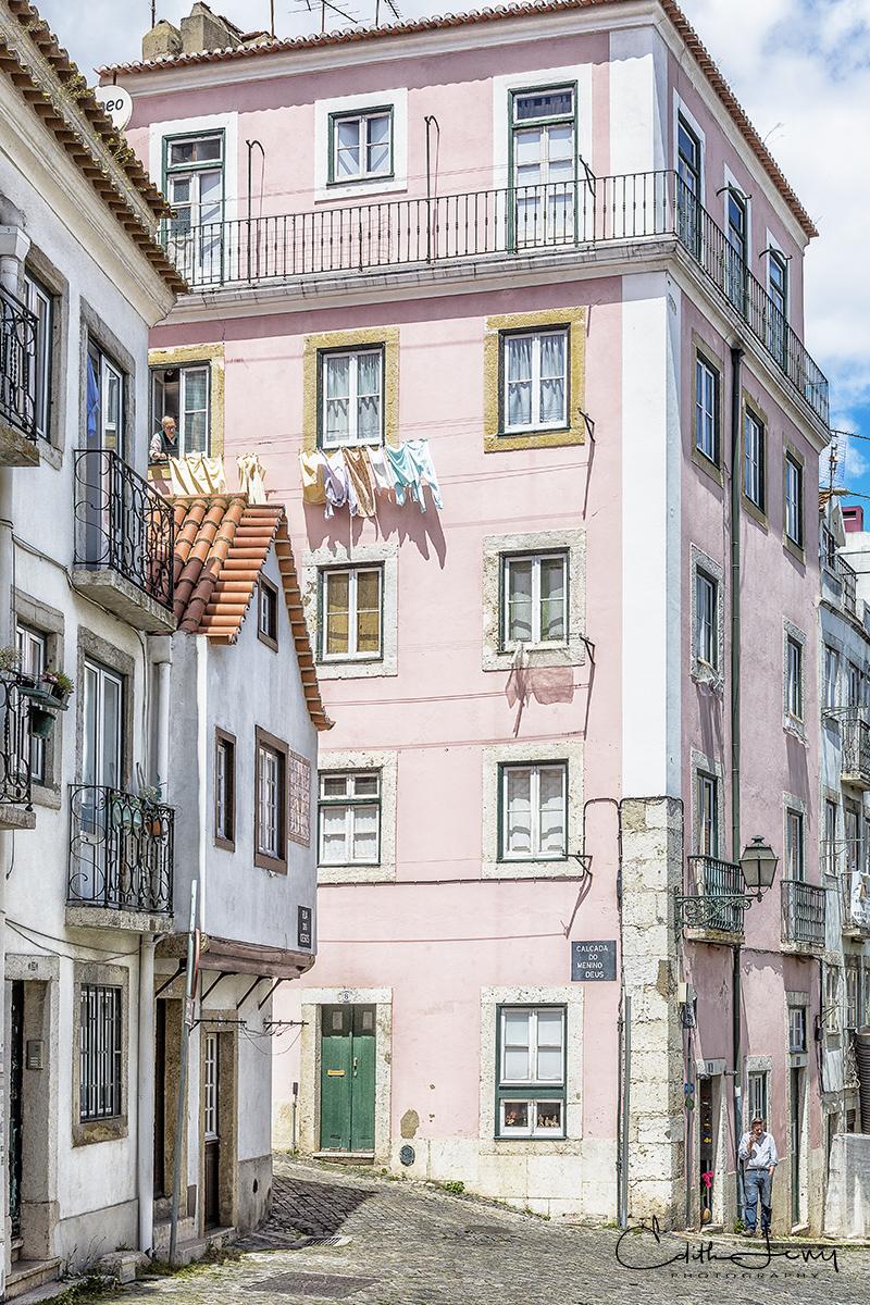 Lisbon, Lisboa, Portugal, pink, building, architecture, photo