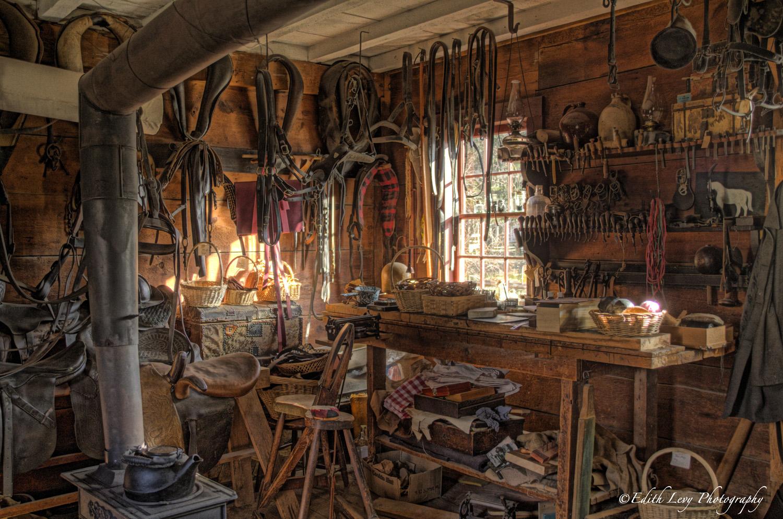 Toronto, Ontario, Black Creek Village, saddler, harness