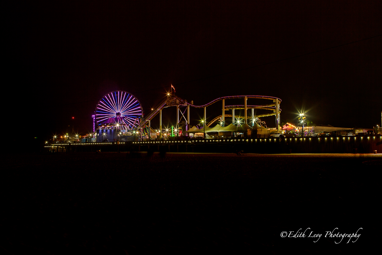 Santa Monica, California, pier, Santa Monica Pier, amusement park, night photography, Ferris wheel
