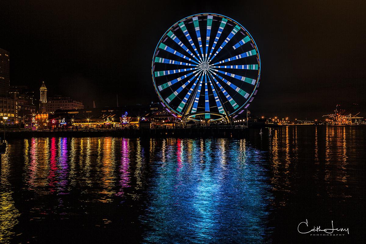 Seattle, Washington, great wheel, Ferris wheel, lights, long exposure, reflection, water, Elliot's Bay, photo