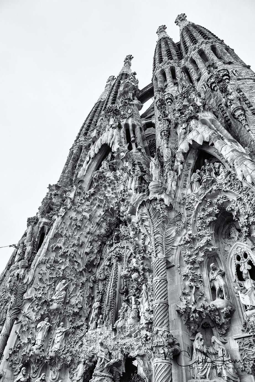 A look at a section of the exterior of the beautiful Basílica de la Sagrada Família designed by Spanish architect Antoni Gaudi...