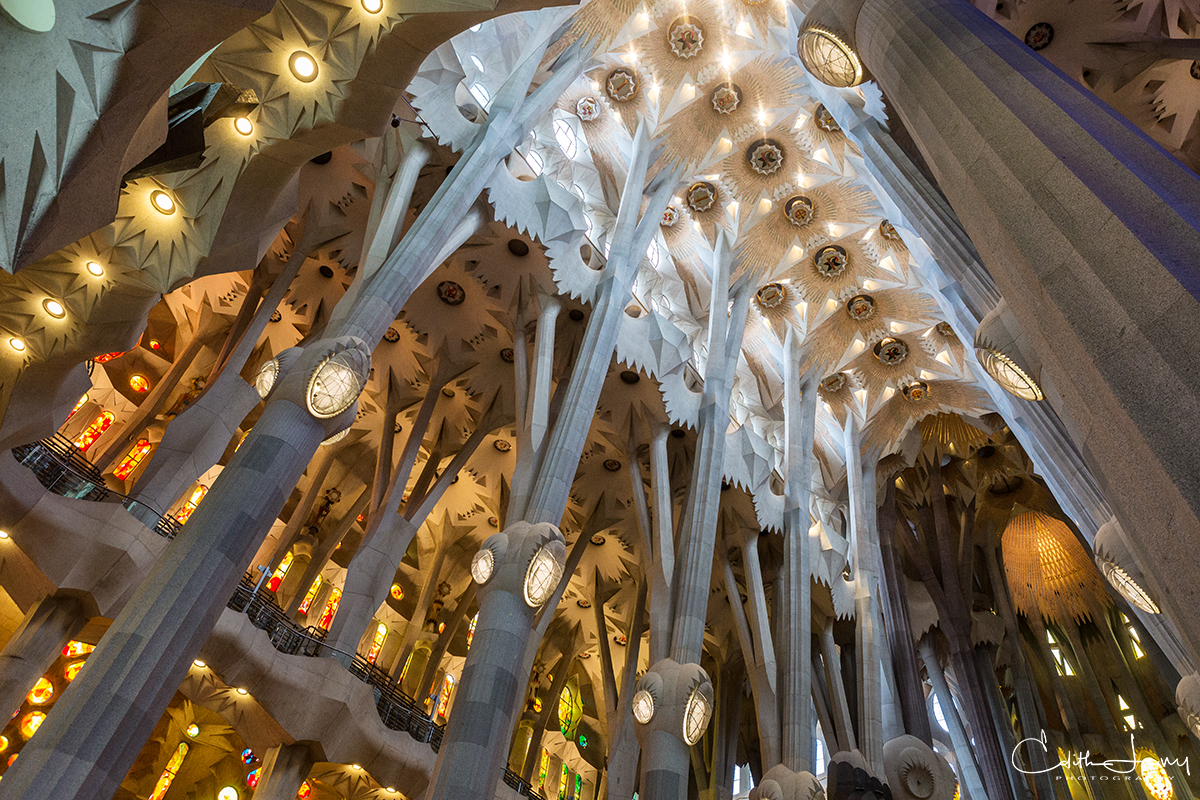 An interior look at the beautiful Basílica de la Sagrada Família designed by Spanish architect Antoni Gaudi