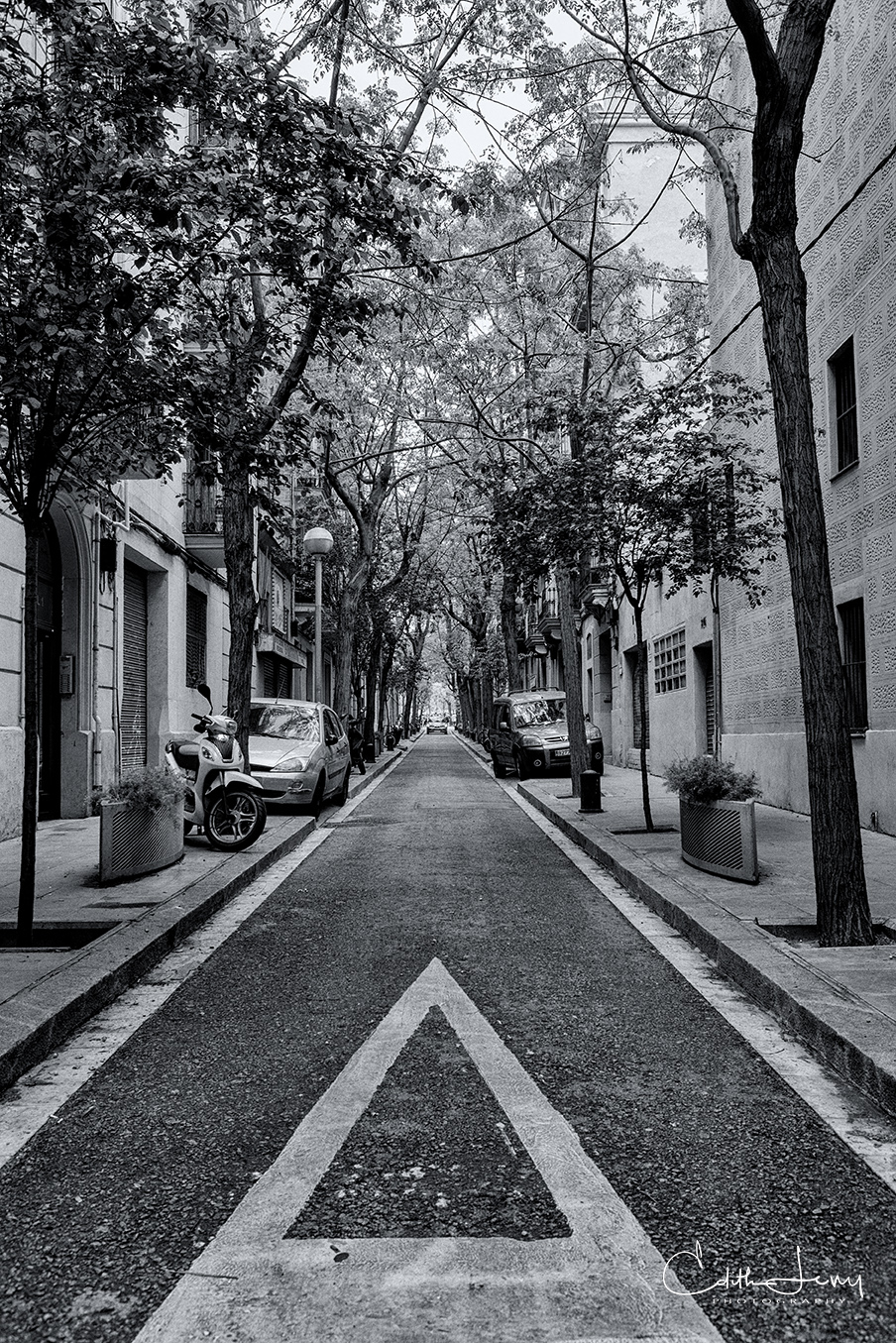 Barcelona, Spain, road, black and white, street photography, direction, arrow