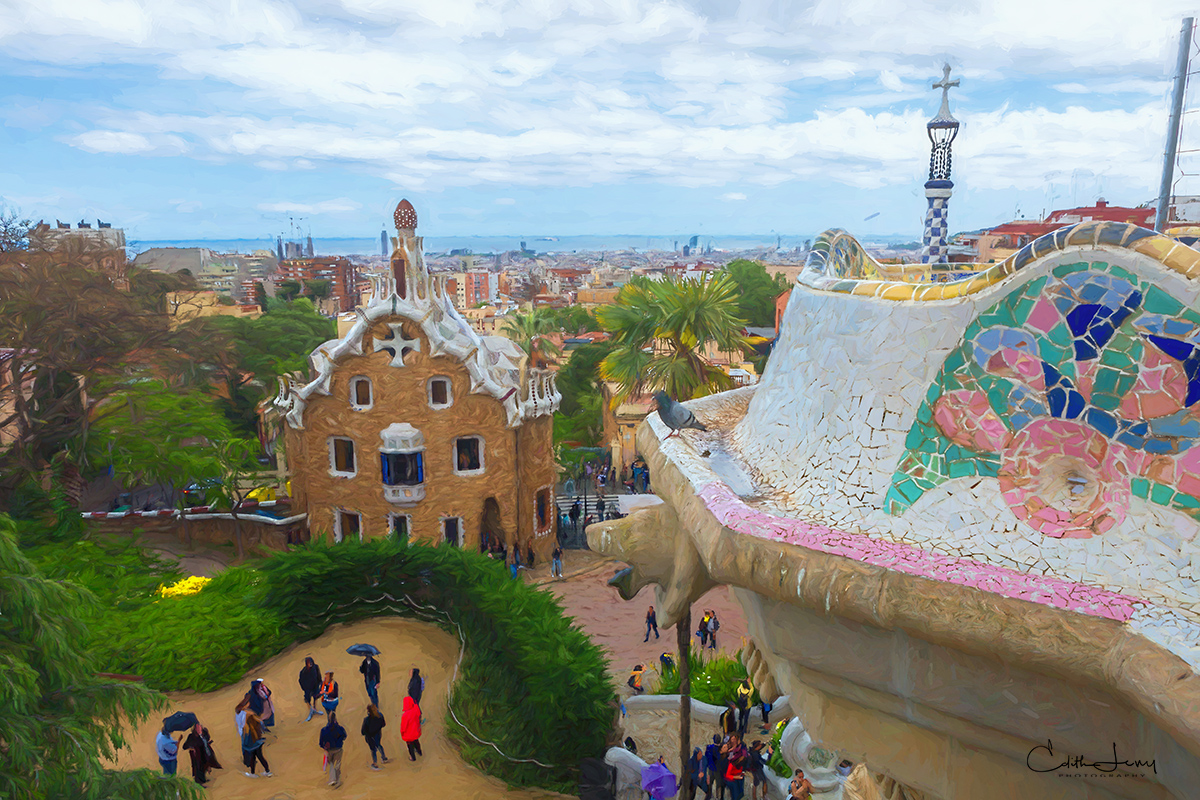 Parc Guell was an unsuccessful housing development in the very early part of the 20th Century. Today it's a public park system...