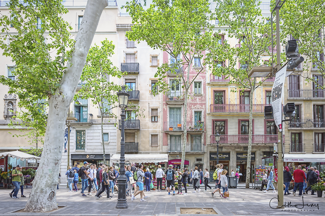 La Rambla is a street in central Barcelona that is a tree lined pedestrian street popular with tourists and locals.